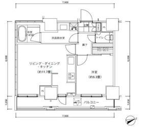 パークキューブ愛宕山タワー2階Fの間取り画像
