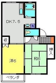 テラスウイステリアA2階Fの間取り画像