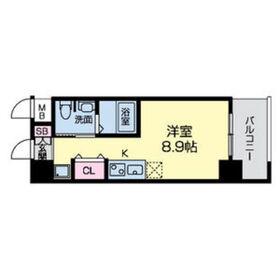 グレンパーク江坂Ⅱ8階Fの間取り画像
