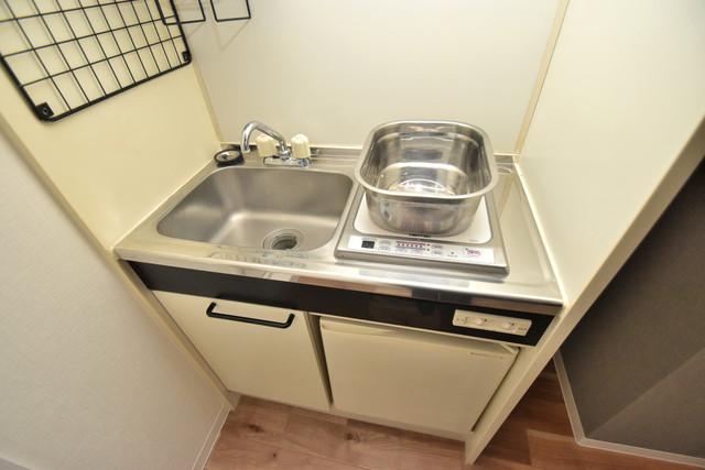 荻田第6ビル 単身用のカワイイミニキッチンです。