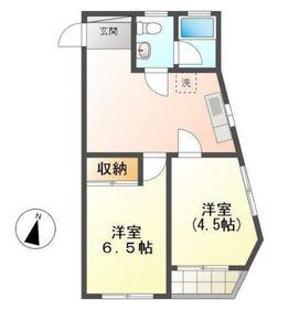 東蒔田第1コーポ5階Fの間取り画像