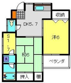 コーポ金井2階Fの間取り画像