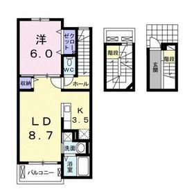 ブラン ラシーヌⅡ3階Fの間取り画像