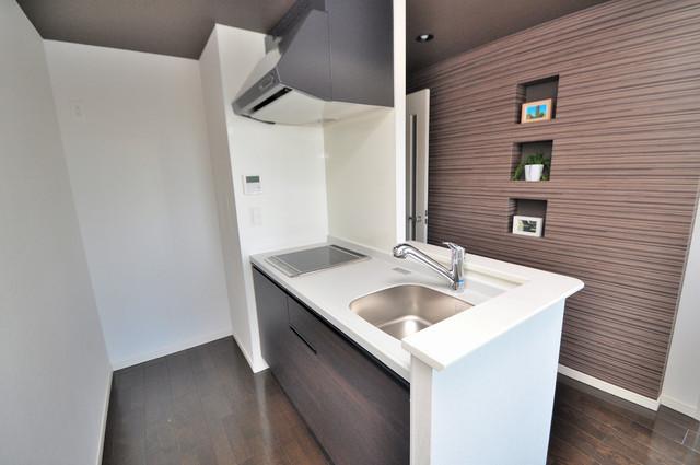 プレミアム菱屋西 システムキッチンは広々と使えて、お料理が楽しくなります。