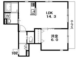 天野アパートメント1階Fの間取り画像