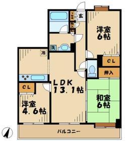 ライオンズガーデン京王南大沢3階Fの間取り画像