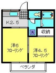 永田北ハイツ2階Fの間取り画像
