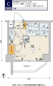 スカイコート品川パークサイドⅡ3階Fの間取り画像