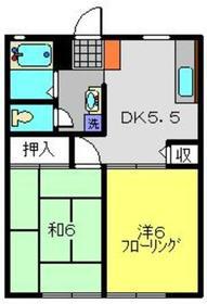 ユキハイツ2階Fの間取り画像