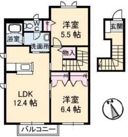 サンホーム老松 A2階Fの間取り画像