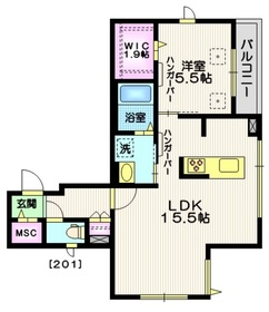 Ⅰ.Daikanyama2階Fの間取り画像