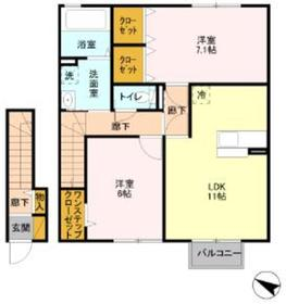 メゾンシャングリラ2階Fの間取り画像