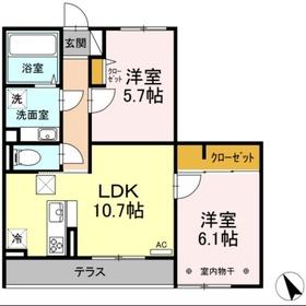 仮称 D-room堀西1階Fの間取り画像