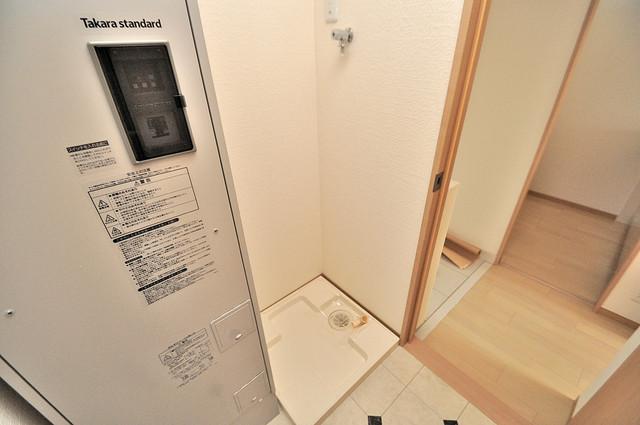 EASTRITZ巽 室内洗濯機置場だと終了音が聞こえて干し忘れを防げますね。