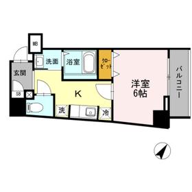 品川駅 徒歩20分6階Fの間取り画像