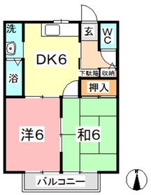 サニーガーデン1階Fの間取り画像