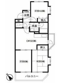 ロイヤル二俣川B棟2階Fの間取り画像