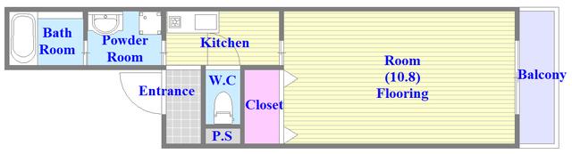 フジパレス高井田西Ⅱ番館 単身さん向けの広めの1Kタイプのお部屋です。