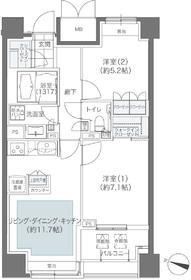 メゾンカルム本郷13階Fの間取り画像