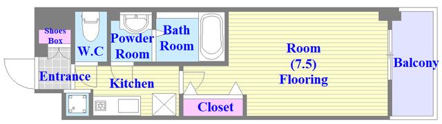 Luxe今里Ⅱ シンプルな住み心地の良い間取りになっております。