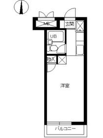 スカイコート鶴見33階Fの間取り画像