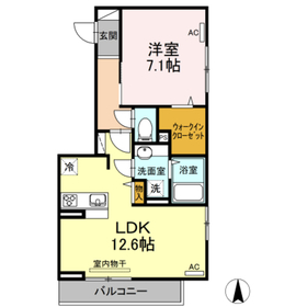 スリーエイトナインⅢ1階Fの間取り画像