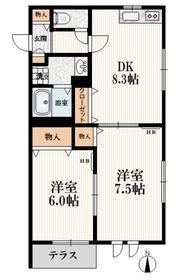 大泉学園駅 バス14分「関町北5丁目」徒歩4分1階Fの間取り画像